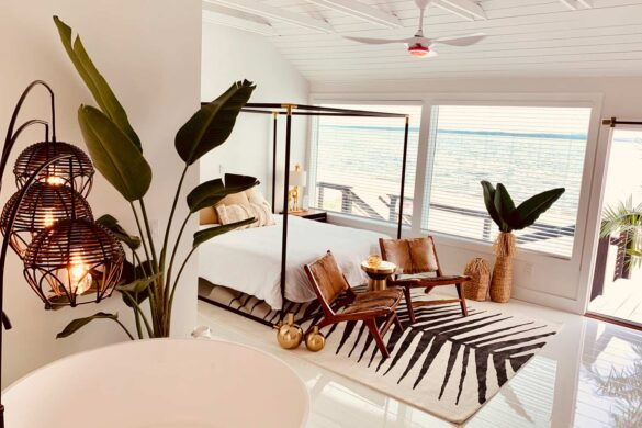 modern island bedroom with elesgo glamour life white laminate flooring