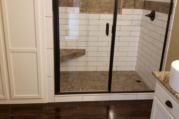contemporary bathroom with featherweight featherlodge river rock 2011 vinyl plank flooring