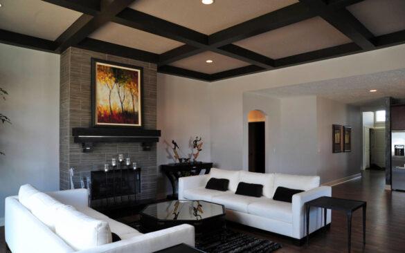 Elegant Living Room With Dark Chocolate Laminate Flooring bl-000684