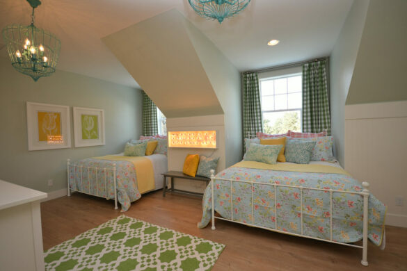 farmhouse kids bedroom with quick step malted tawny oak laminate