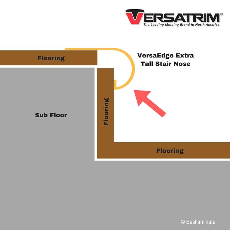 Stair Nose Molding Versa Edge Extra Tall Versatrim Dusty Trail Oak #104403